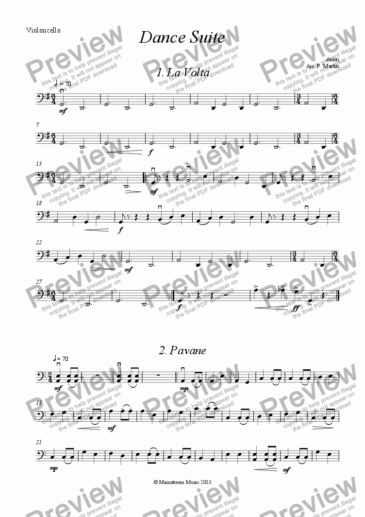 page one of the Cello part from Dance Suite