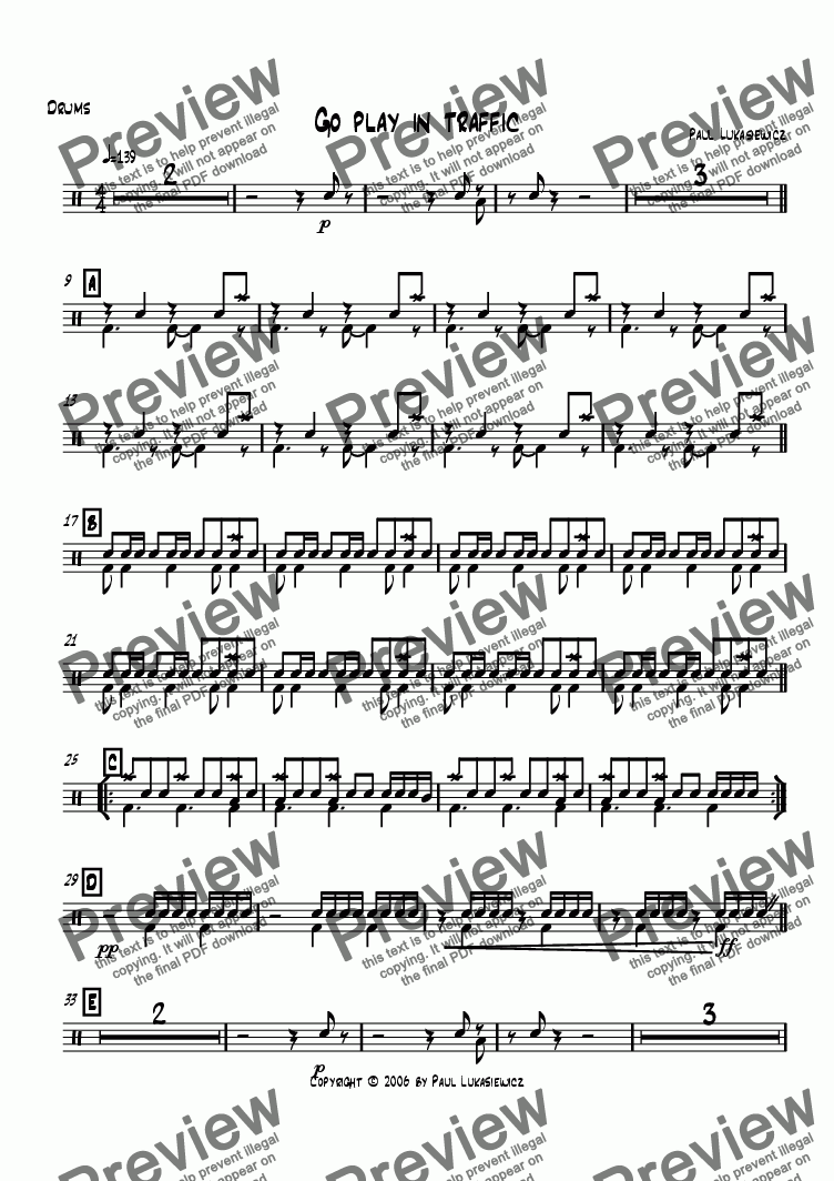 page one of the Drums part from Go play in traffic