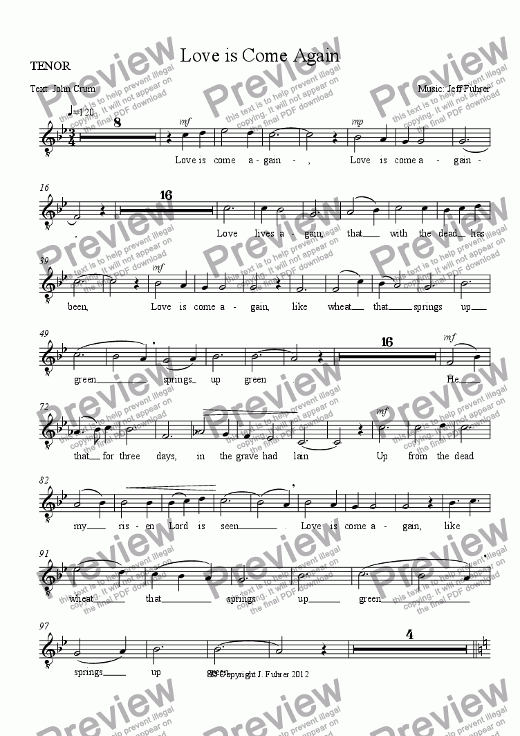 page one of the TENOR part from Love is Come Again