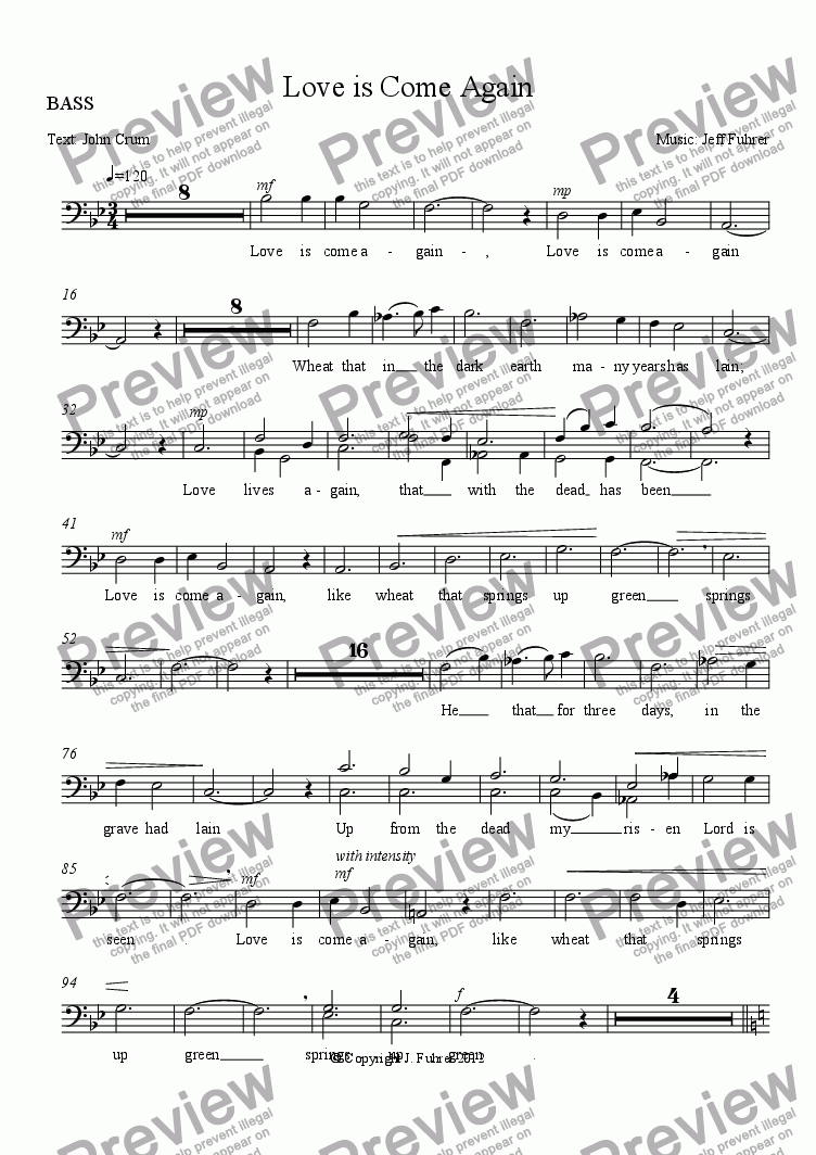 page one of the BASS part from Love is Come Again