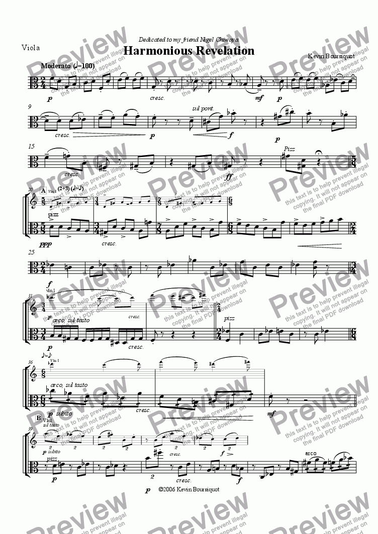 page one of the Viola part from Harmonious Revelation