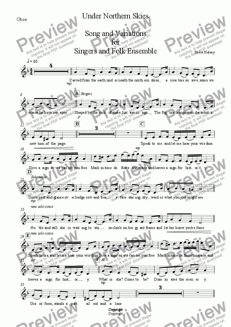page one of the Oboe part from Lady of the North  Song and Variations for Singers and Folk Ensemble