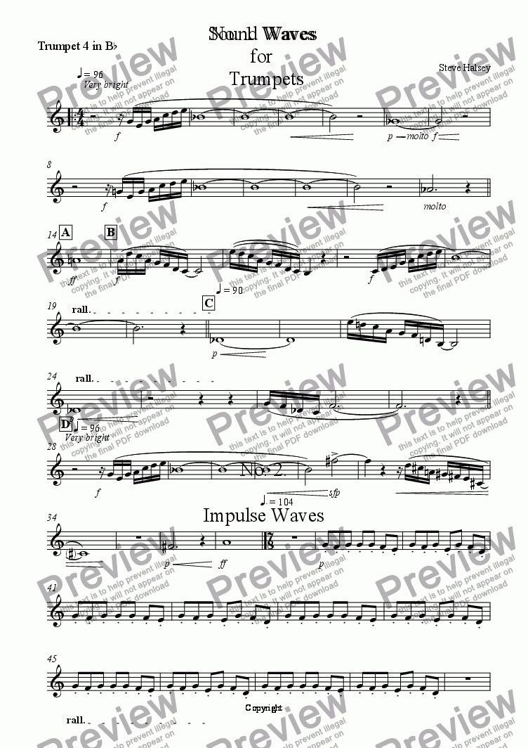 page one of the Trumpet 4 in B^b part from No. 1  Waves