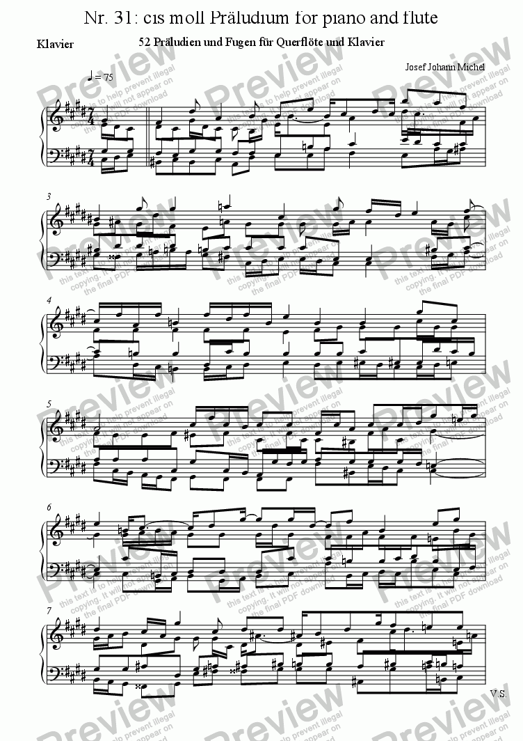 page one of the Klavier part from Nr. 31: cis moll Präludium for piano and flute
