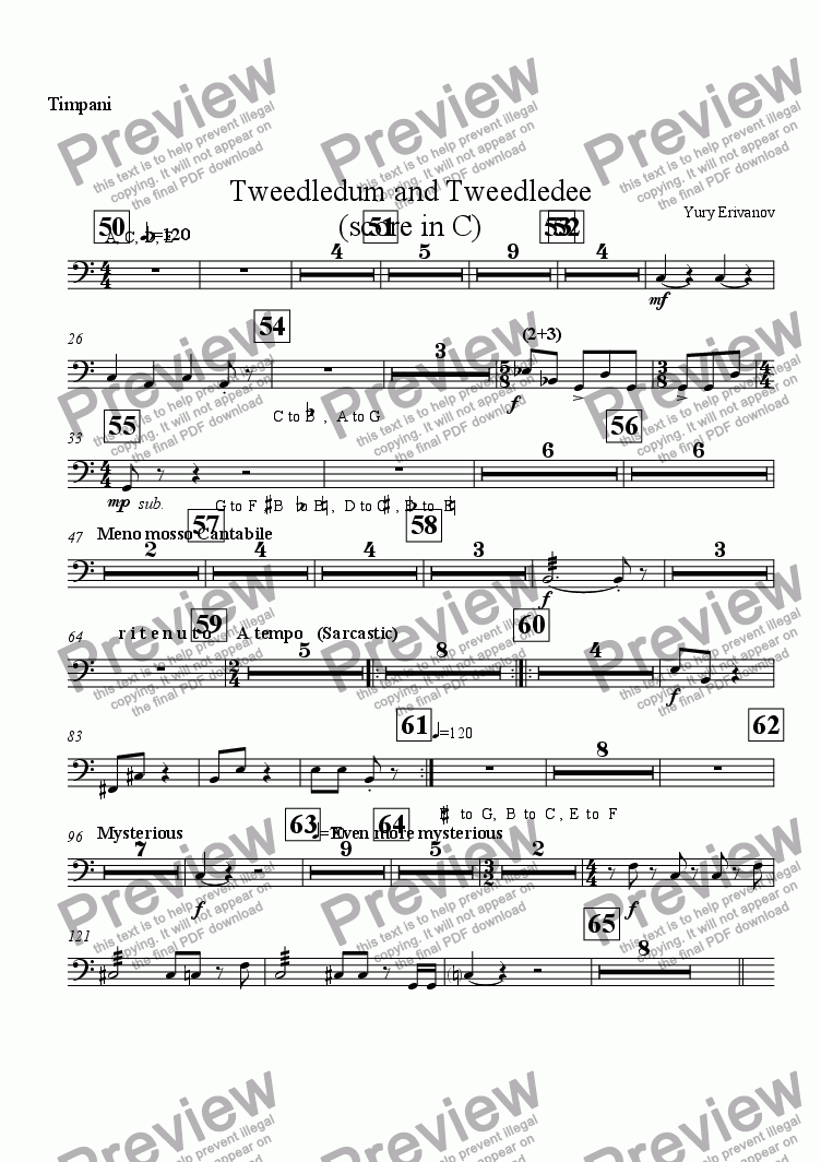 page one of the Timpani part from Tweedledum and Tweedledee (score in C)