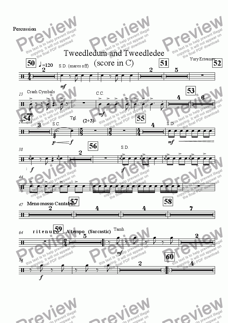 page one of the Percussion part from Tweedledum and Tweedledee (score in C)