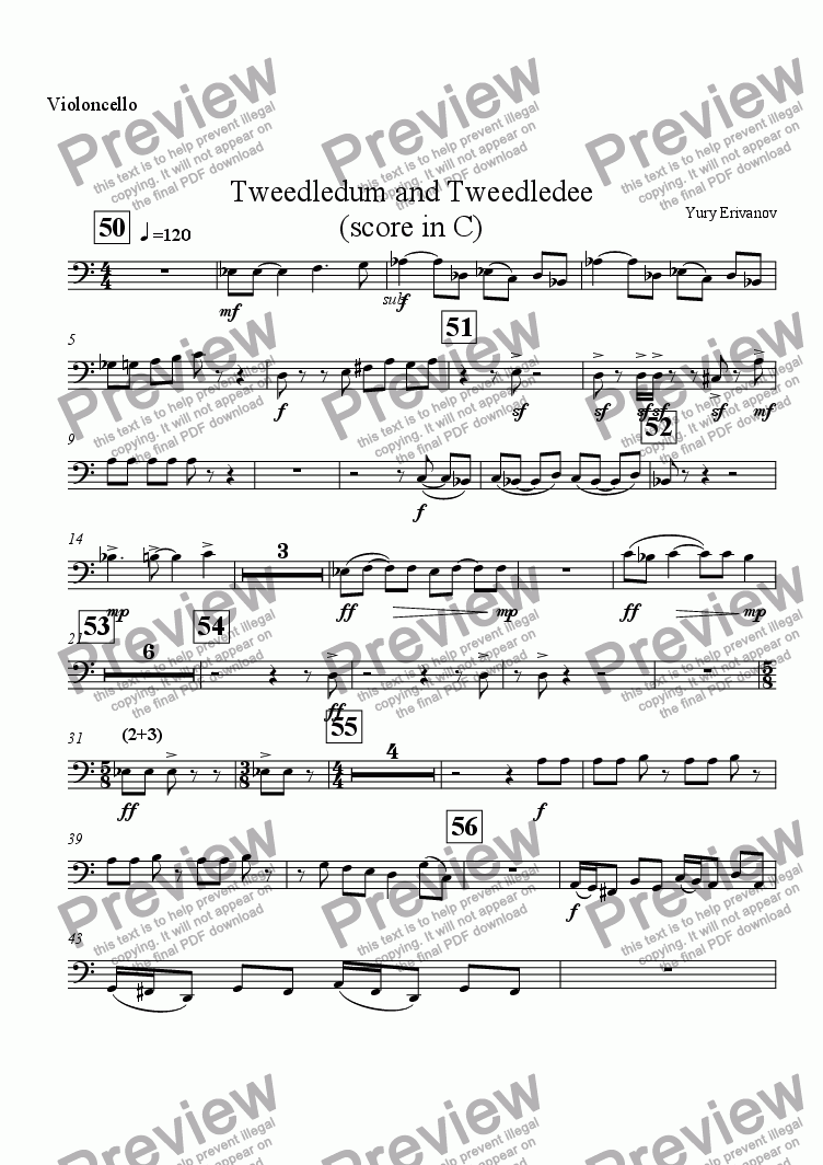 page one of the Violoncello part from Tweedledum and Tweedledee (score in C)