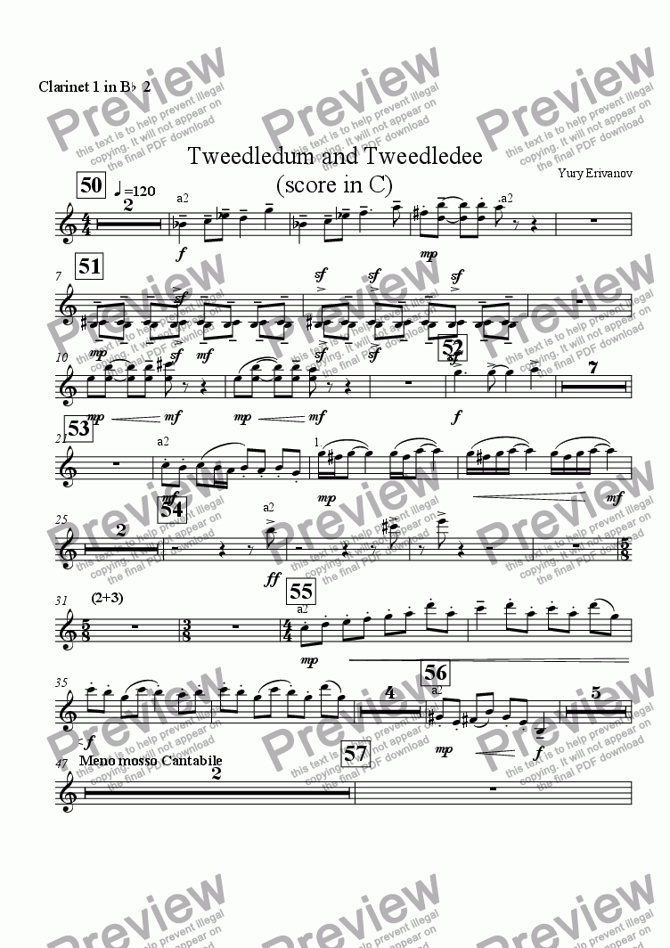 page one of the Clarinet 1 in B^b^ 2 part from Tweedledum and Tweedledee (score in C)
