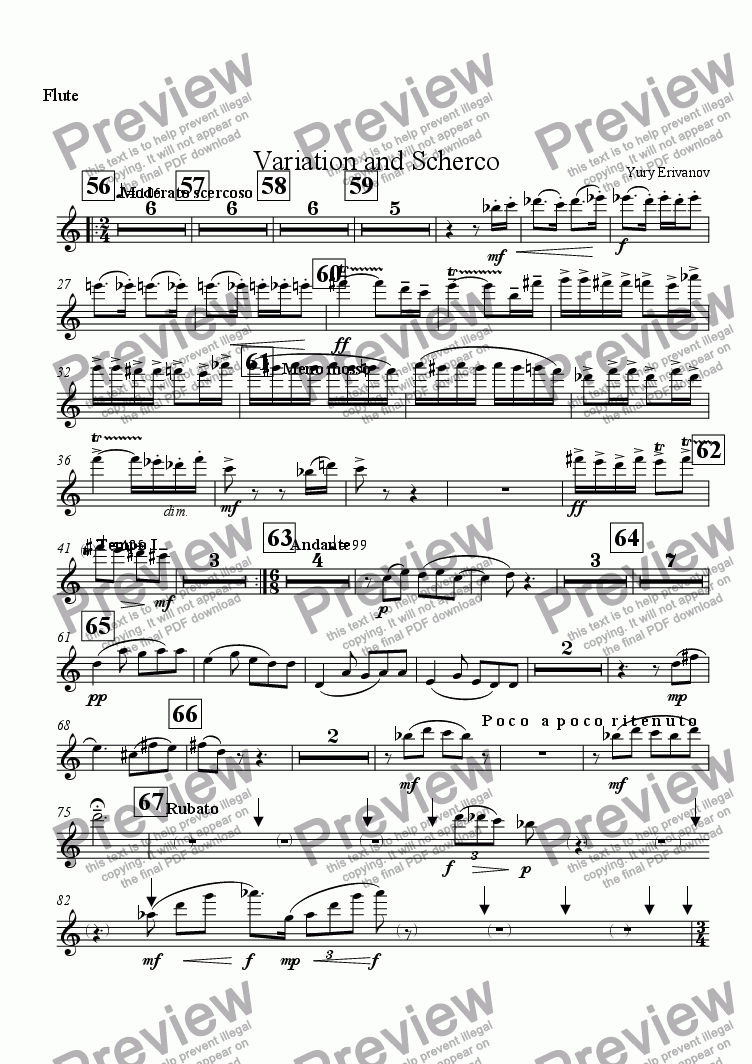 page one of the Flute part from Variation and Scherco
