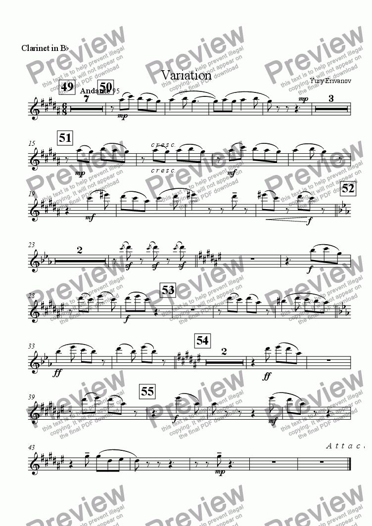 page one of the Clarinet in B^b part from Variation