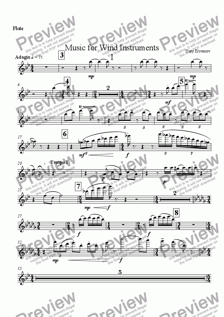 page one of the Flute part from Music for Wind Instruments I