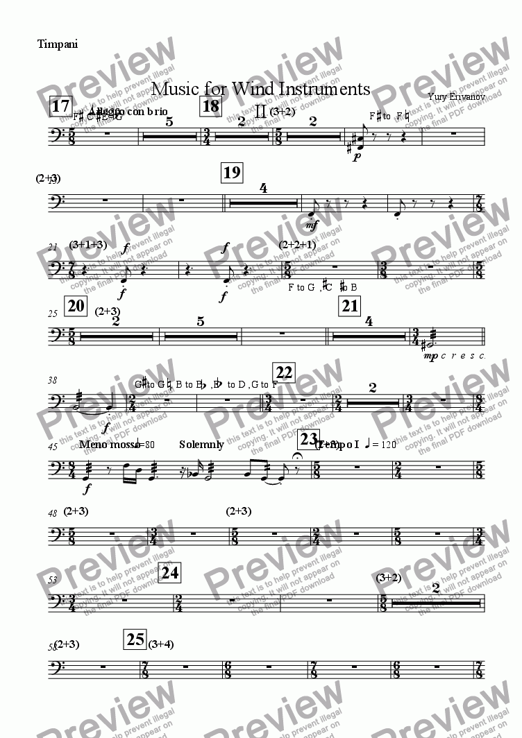 page one of the Timpani part from Music for Wind Instruments II