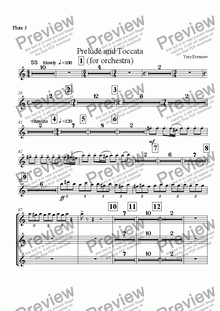page one of the Flute 3 part from Prelude and Toccata (for orchestra)