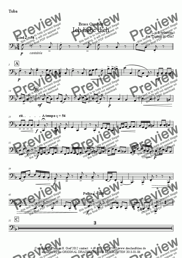 page one of the Tuba part from Beethoven - Ich liebe dich - Brass Quartet