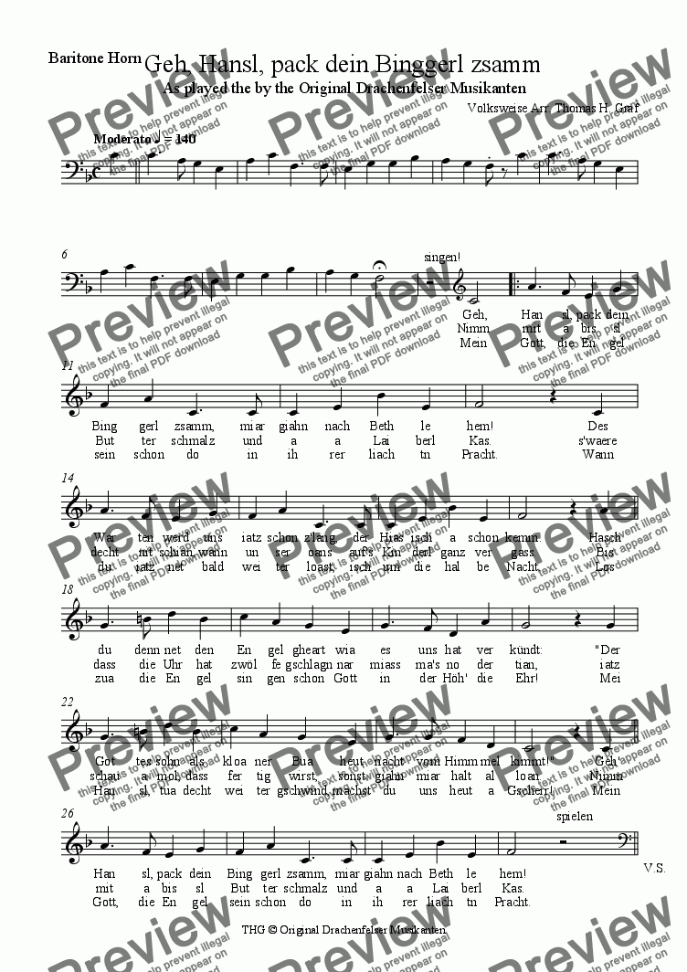 page one of the Baritone Horn part from Geh, Hansl, pack dein Binggerl zsamm - Quartet