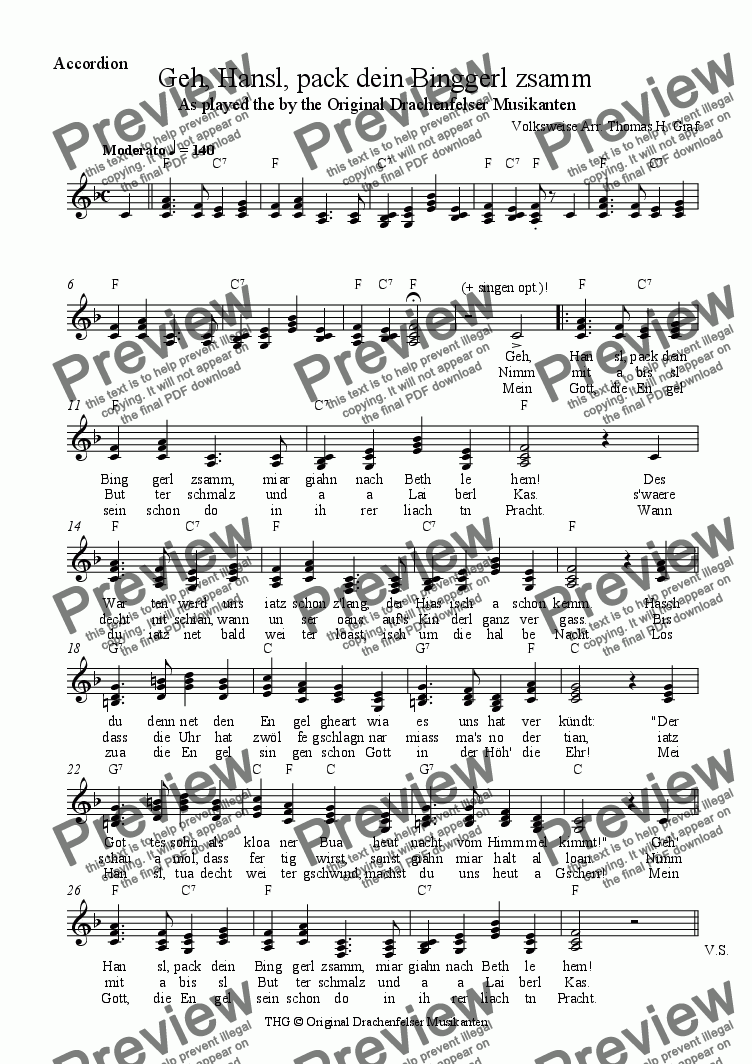 page one of the Accordion part from Geh, Hansl, pack dein Binggerl zsamm - Quartet