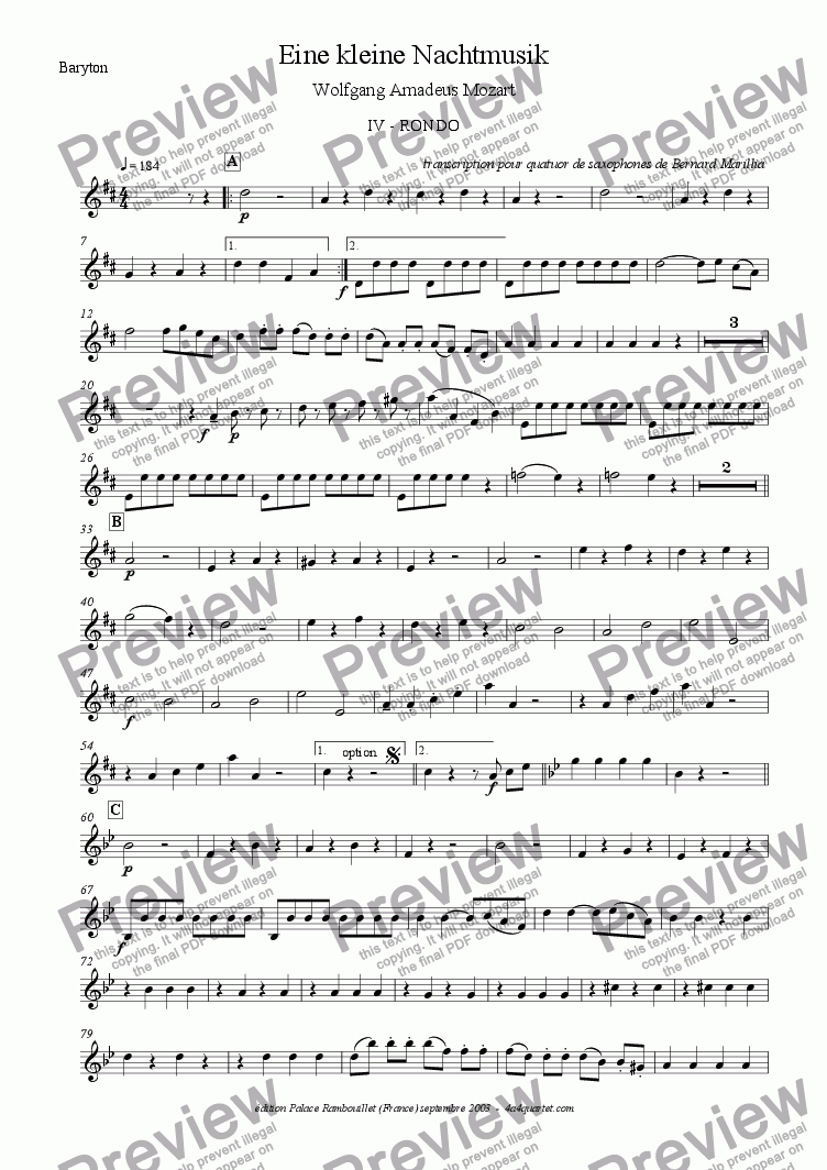 page one of the Baritone Sax part from Mozart - Eine kleine Nachtmusik - 4th Mvt (Sax Quartet)