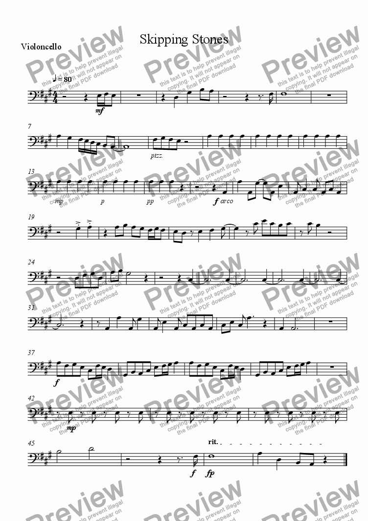 page one of the Violoncello part from Skipping Stones