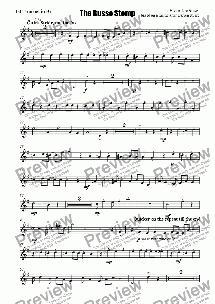 page one of the First B-flat Trumpet part from The Russo Stomp