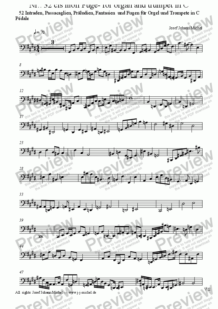 page one of the Pédale part from Nr.: 32 cis moll Fuge- for organ and trumpet in C