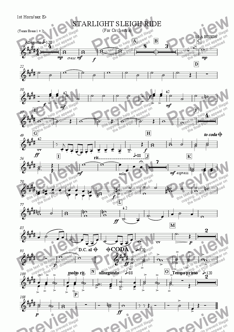 page one of the Tenor Brass 1+2 (E flat Horn/Sax) part from Starlight Sleigh Ride -Christmas piece for School Orchestra