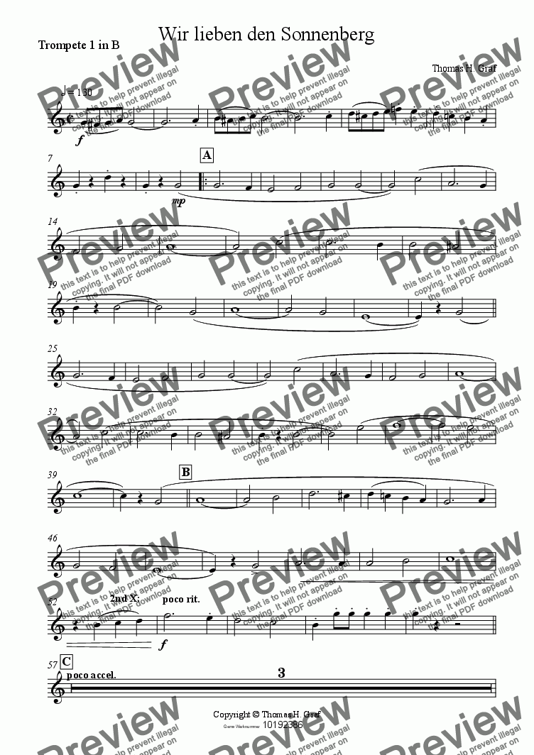 page one of the Trompete 1 in B part from Wir lieben den Sonnenberg - Brass Quintet