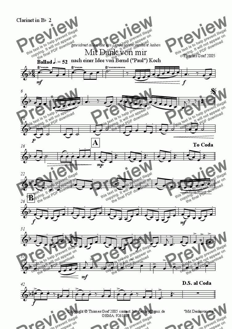 page one of the Clarinet in B^b^ 2 part from Mit Dank von mir - Concert band