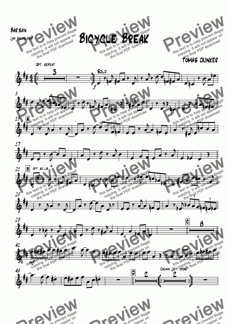 page one of the Bar.sax written sol part from Lay Back (for BigBand)