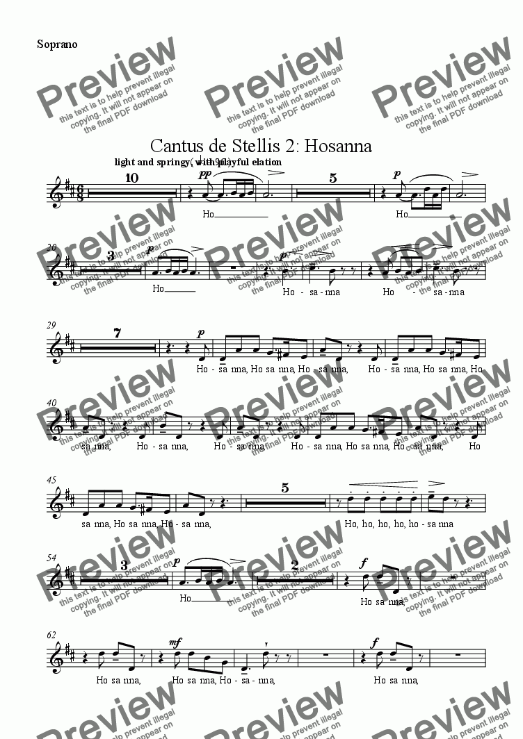 page one of the Soprano part from Cantus de Stellis 2: Hosanna