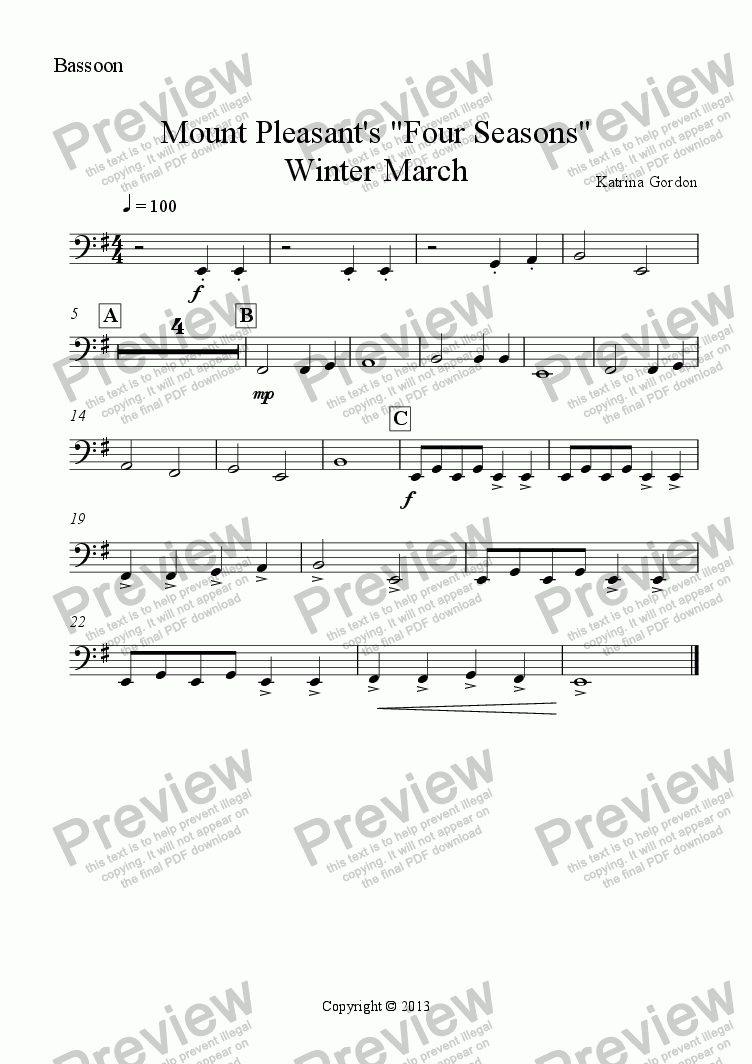 "page one of the Bassoon part from Mount Pleasant's ""Four Seasons"" Winter March"