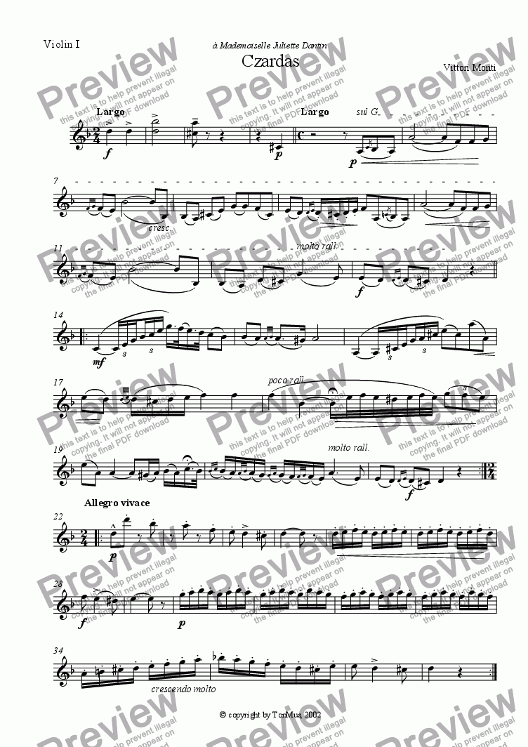 page one of the Violin I part from Czardas