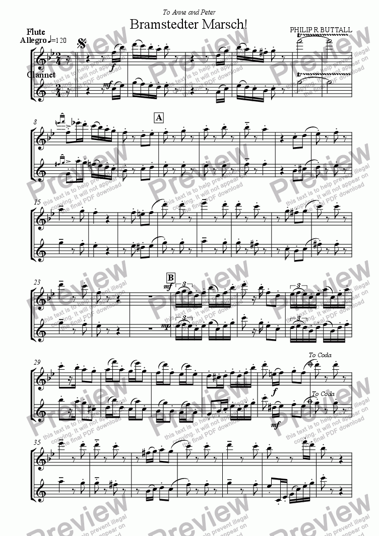 page one of the Flute & Clarinet Score part from Bramstedter Marsch! (Flute & Clarinet)