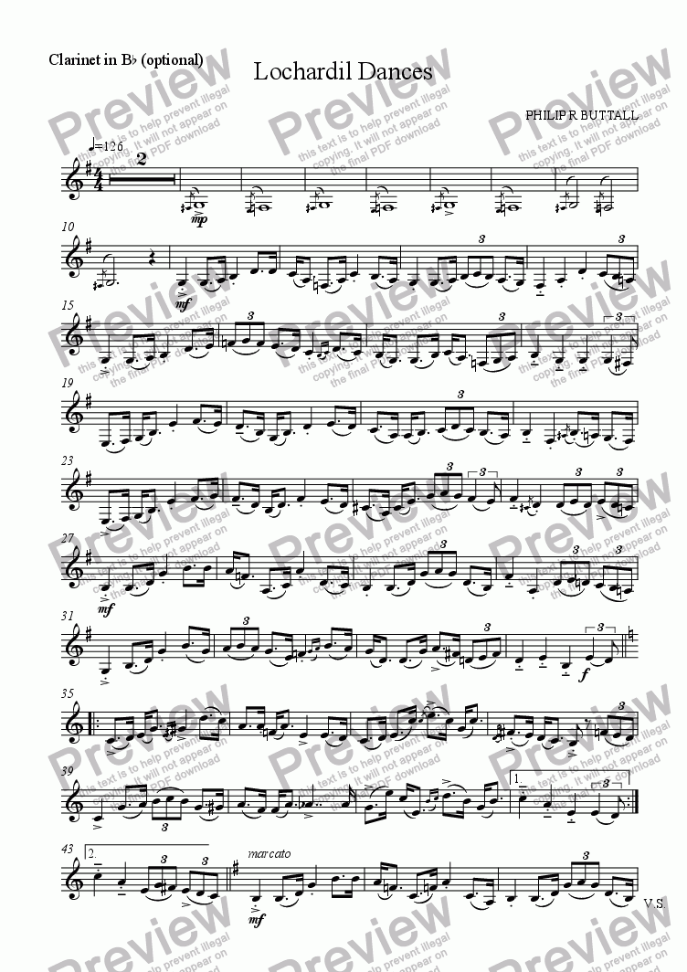 page one of the Clarinet in Bb (optional) part from Lochardil Dances (Solo / Duet & Piano) [Flute Version]