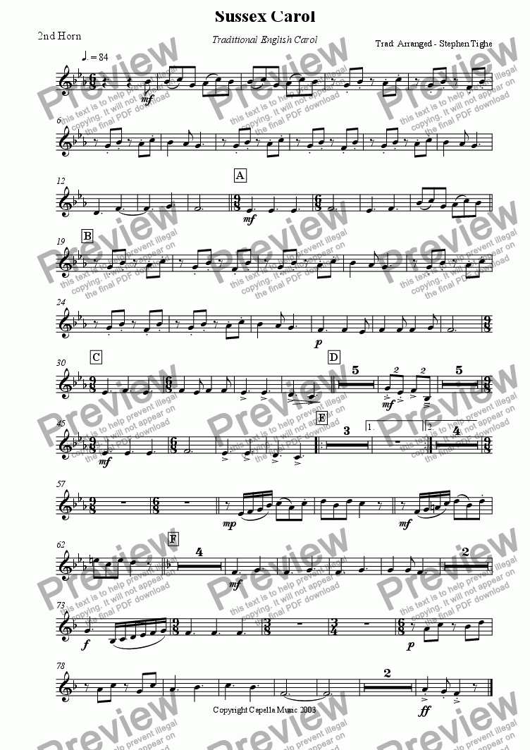 page one of the 2nd Horn part from Sussex Carol for Brass band
