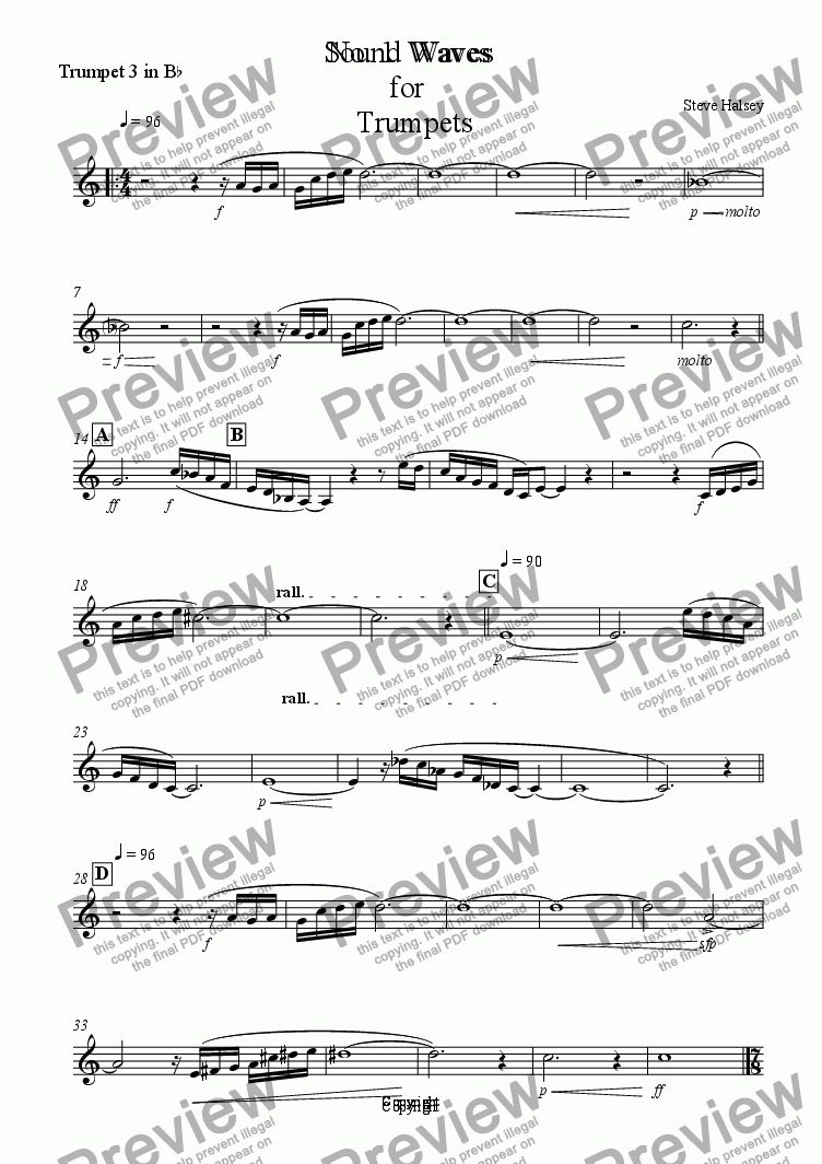 page one of the Trumpet 3 in B^b part from Sound Waves for 7 Trumpets and Organ