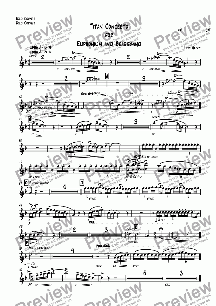 page one of the Solo Cornet part from Titan Concerto  for  Euphonium and Brassband