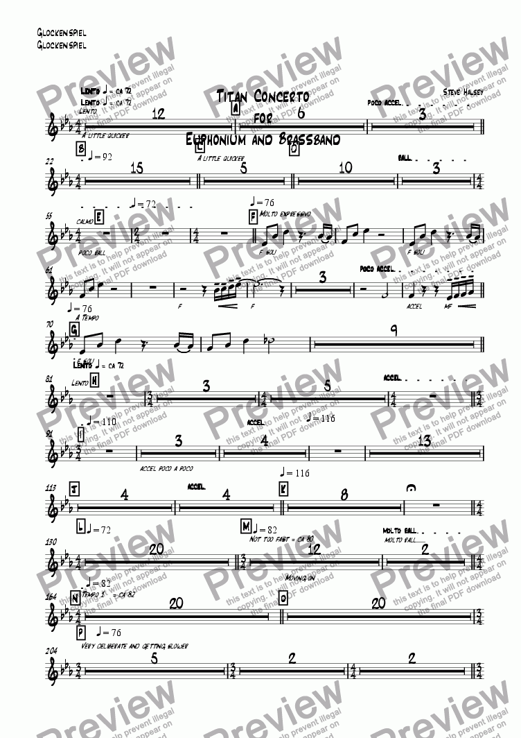 page one of the Glockenspiel part from Titan Concerto  for  Euphonium and Brassband