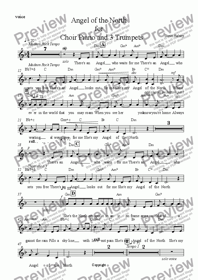 page one of the voice part from Angel of the North for    Choir Piano and 3 Trumpets