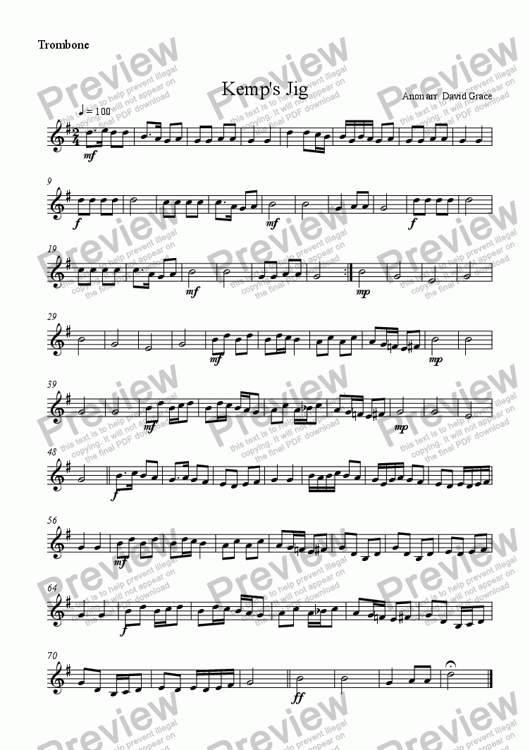 page one of the Trombone part from Kemp's Jig