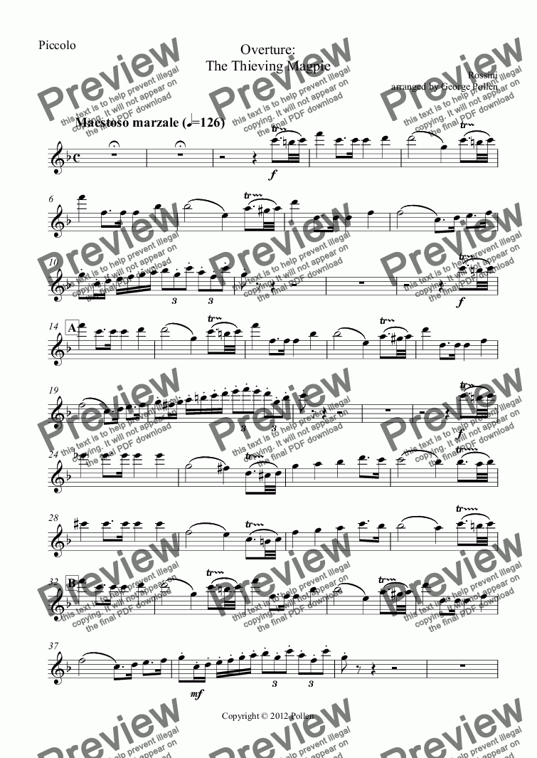 page one of the Piccolo part from Overture: The Thieving Magpie (CB)