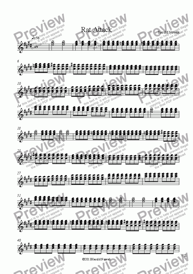 page one of the Strings part from Rat Attack