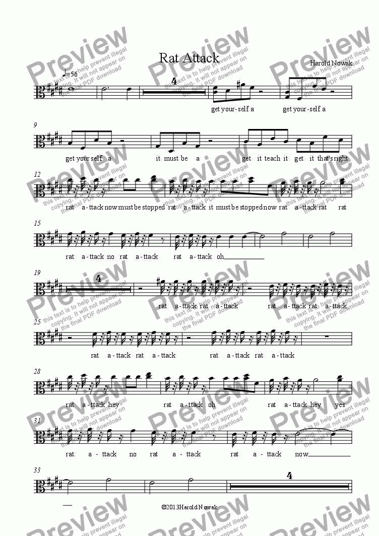 page one of the Voice part from Rat Attack