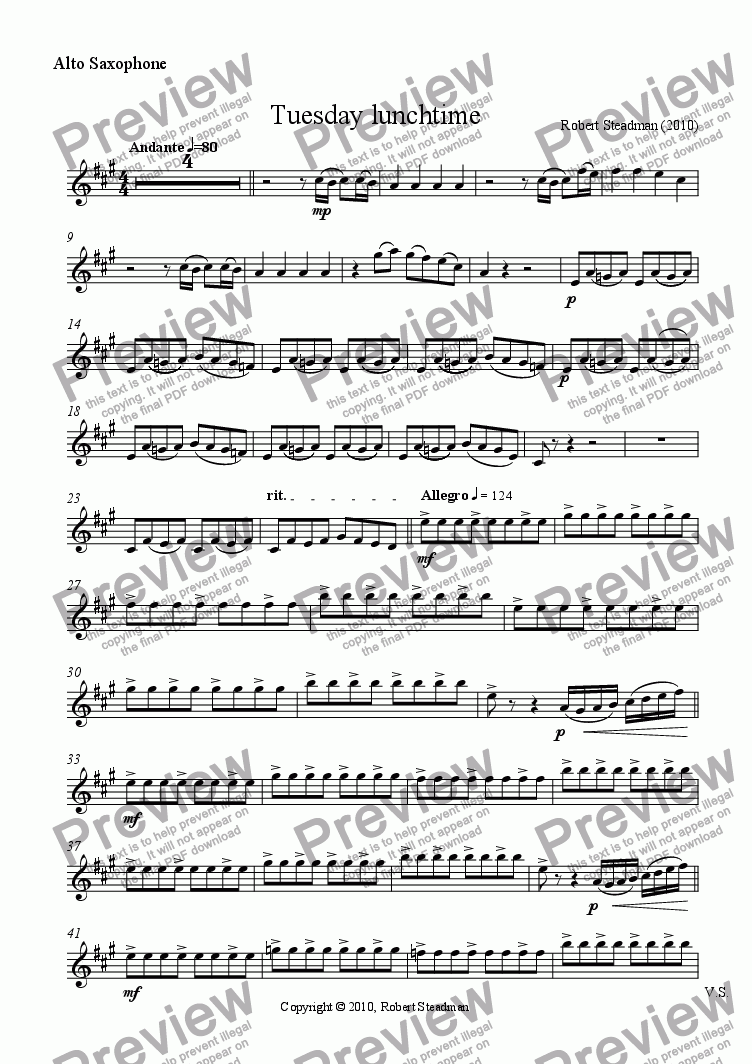 page one of the Alto Saxophone part from Tuesday lunchtime