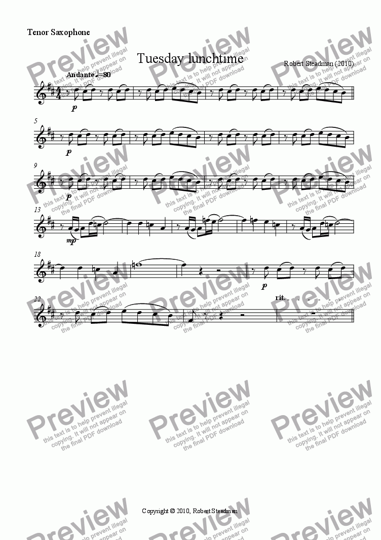 page one of the Tenor Saxophone part from Tuesday lunchtime