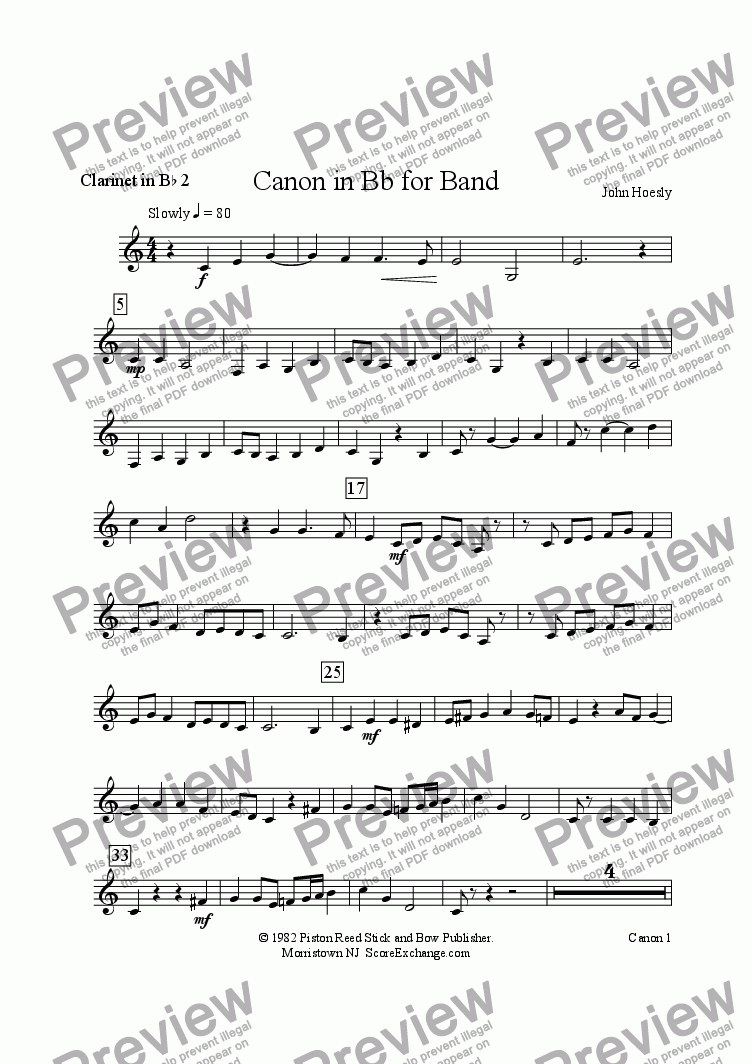 page one of the Clarinet in Bb 2 part from Canon in Bb for Band- for young concert band