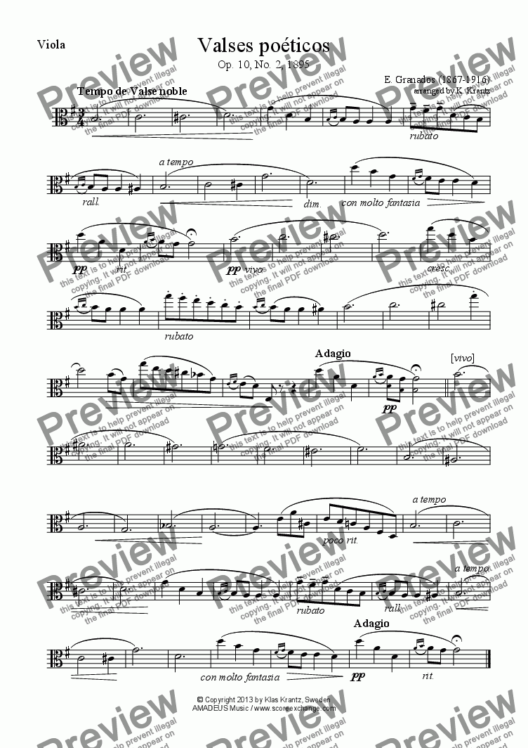 page one of the Viola part from Valses poéticos No. 2 for viola and guitar