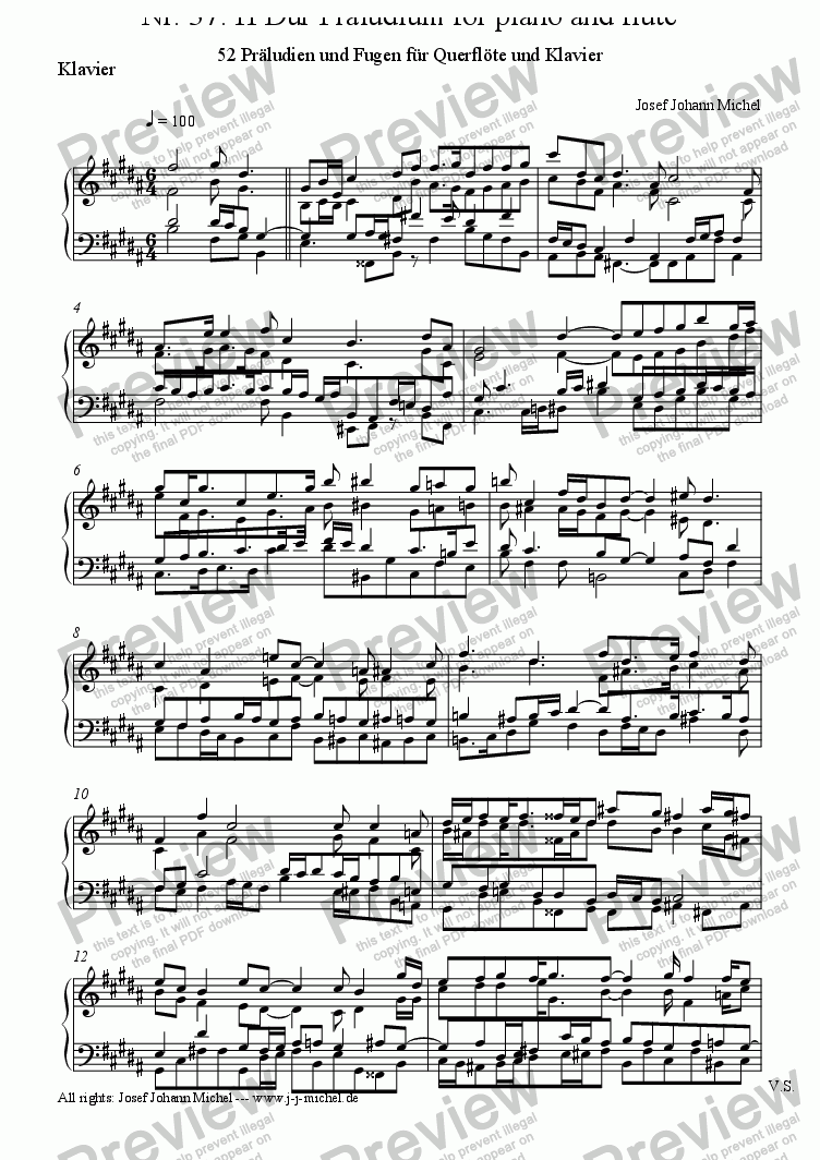 page one of the Klavier part from Nr. 37: H Dur Präludium for piano and flute