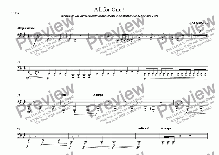 page one of the Tuba part from All for One!