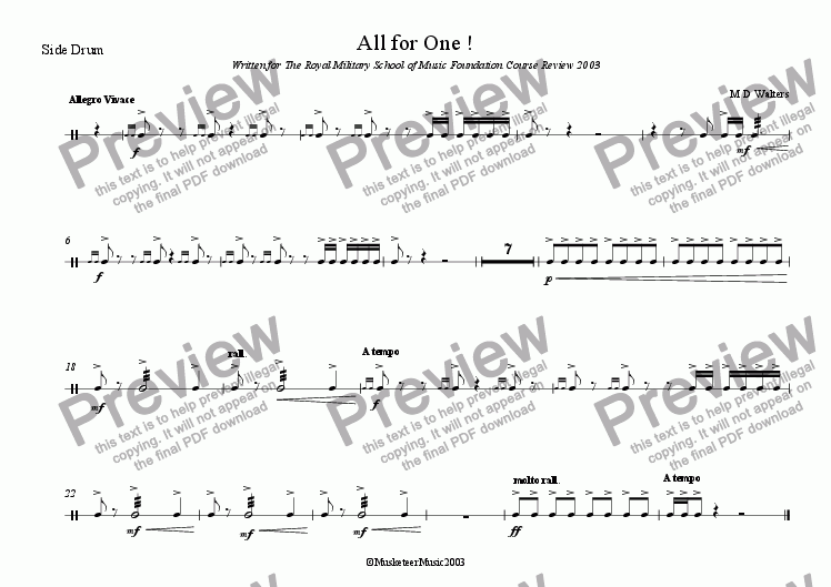 page one of the Side Drum part from All for One!