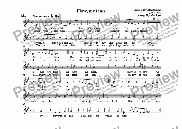 page one of the Alto part from Flow, my tears